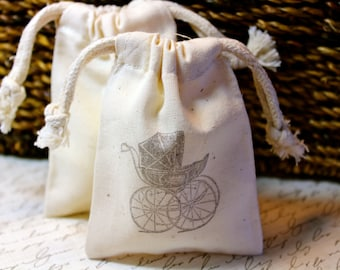 10 Cotton Drawstring Muslin Favor Bags - Vintage Baby Carriage