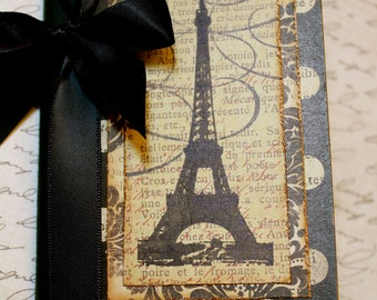 Altered Mini Composition Journal Notebook - Eiffel Tower - Vintage France