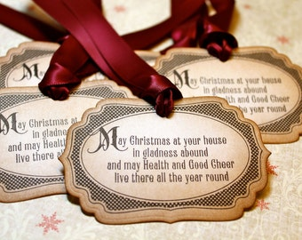 Vintage Inspired Holiday Gift Tags - Christmas Sentiments - Set of 5