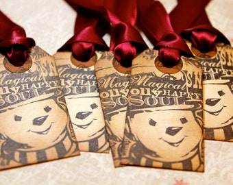 Vintage Inspired Holiday Gift Tags - Frosty - Set of 5