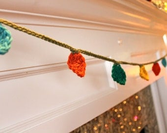Crocheted Holiday Lights Christmas Garland