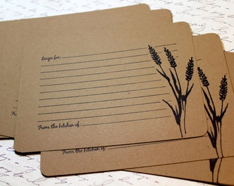 Set of 10 Vintage Inspired Kraft Recipe Cards - Wheat