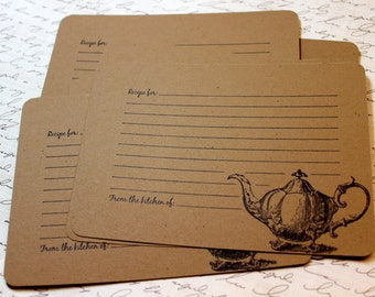 Set of 10 Vintage Inspired Kraft Recipe Cards - Victorian Tea Pot