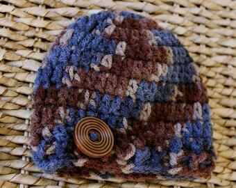 Crocheted Baby Button Hat - Newborn 0-3 Months - Brown & Blue Variegated