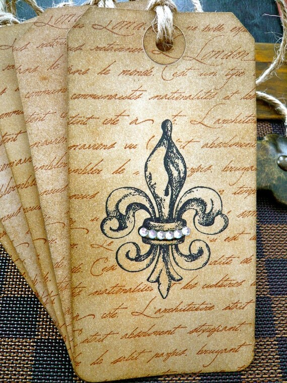 Vintage Inspired Shabby Chic Tags - Fleur-De-Lys - Set of 5
