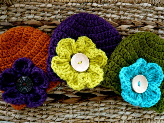 Crocheted Baby Flower Hats - Newborn Girl - Set of 3 - Brights - Also Sold Separately