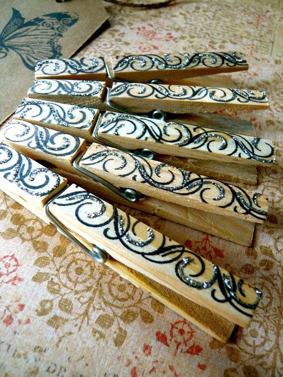 Shabby Chic Designer Pegs - Swirls - Set of 5