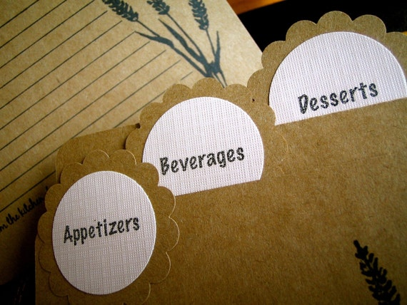 Recipe Cards & Dividers - Vintage Inspired - Wheat