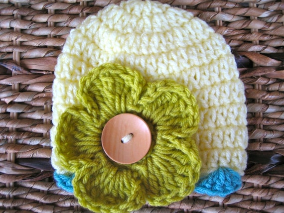 Crocheted Baby Flower Hats - Newborn Girl - Pale Yellow with Grass Pansy Flower