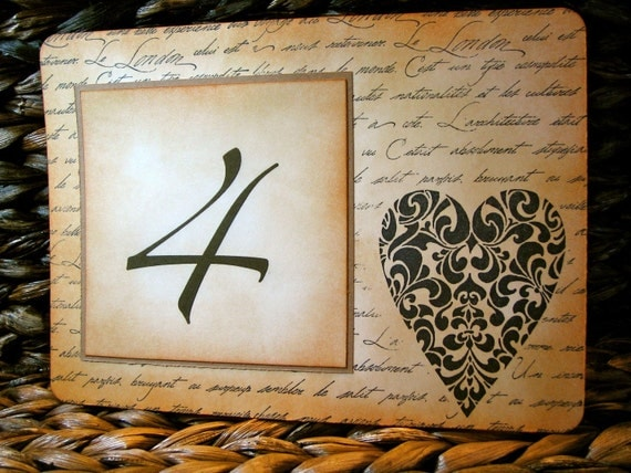 Vintage Inspired Table Number Card - Ornate Heart