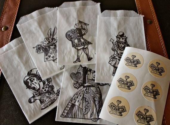 Alice in Wonderland Glassine Favor Bags & Seals - Small - Set of 10