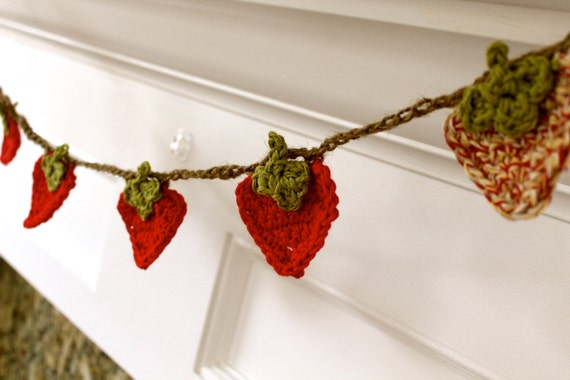 Crocheted Summertime Strawberry Garland