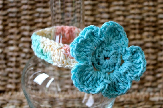 Crocheted Baby Headband Newborn 0-3 Months - 100% Cotton - Turquoise
