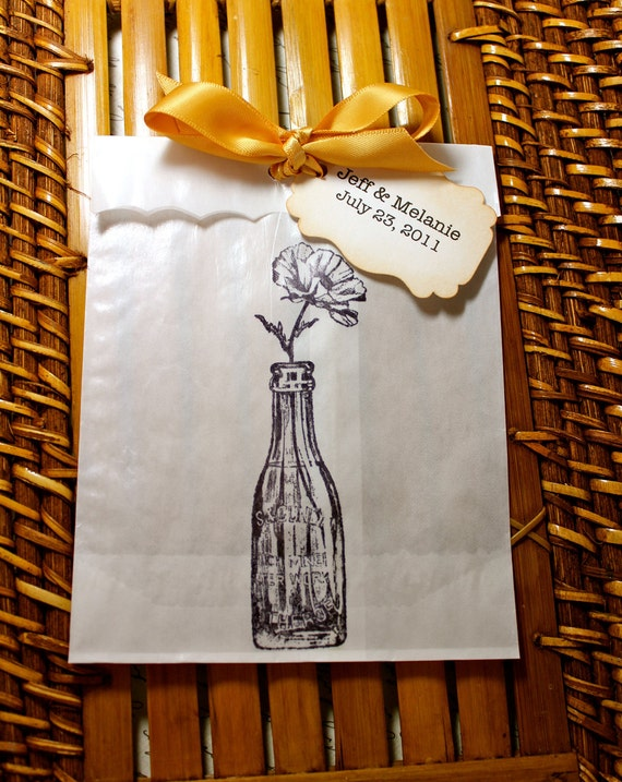 Glass Bottle Glassine Favor Bags & Tags - 4 1/2 x 6 3/4 - Personalized - SET OF 5 - You choose ribbon color