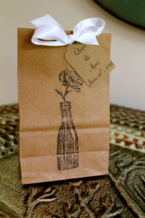 Personalized Kraft Favor Bags  -  Set of 10  - Glass Bottle - Four Bag Sizes Available - You Choose Ribbon Color