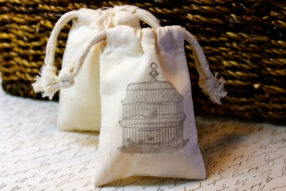 RESERVED for STEPHANIE - 70 Cotton Drawstring Muslin Favor Bags - Vintage Birdcage - RUSH