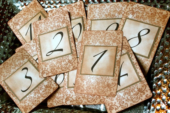 Vintage Inspired Table Number Card - Tapestry Pattern