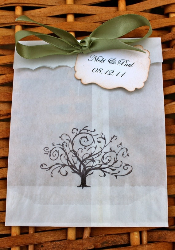 Whimsical Tree Glassine Favor Bags & Tags - 4 1/2 x 6 3/4 - Personalized - You choose ribbon color