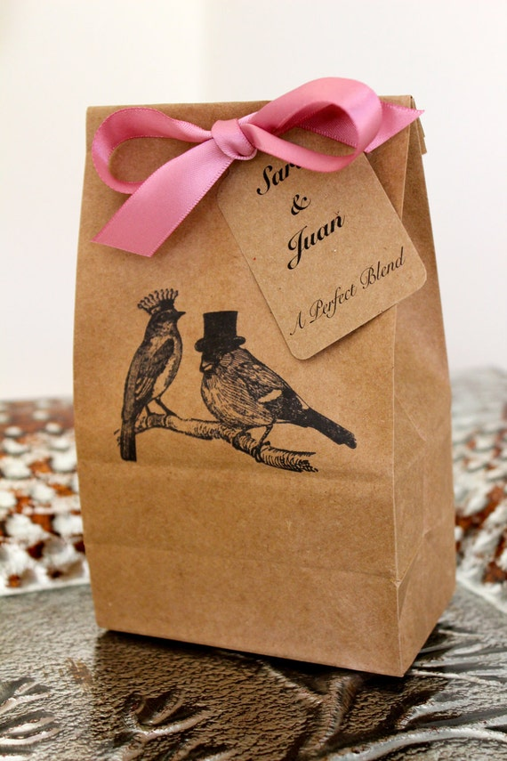 Personalized Kraft Favor Bags with Customized Tags  - Love Birds - Set of 10 - Two Bag Sizes Available - You Choose Ribbon Color