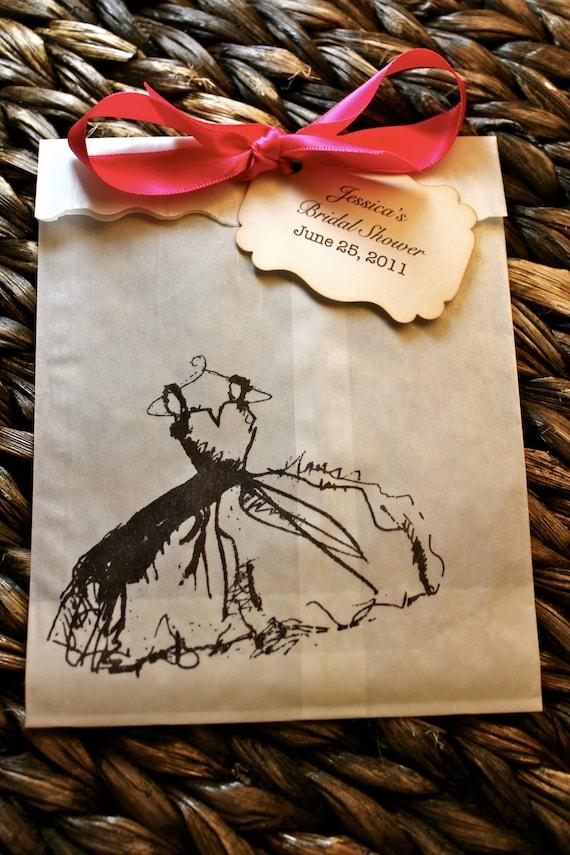 Dress Glassine Favor Bags & Tags - 4 1/2 x 6 3/4 - Personalized - You choose ribbon color