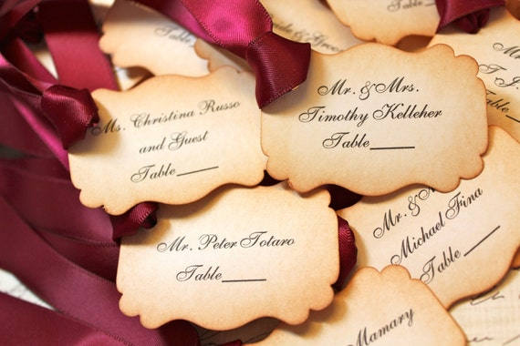 RESERVED FOR JAMIE - Vintage Inspired Escort Place Card Tags