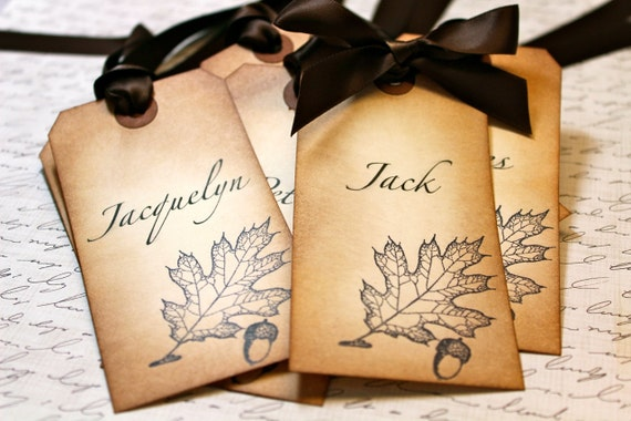Vintage Inspired Fall themed Place Card - Oak Leaf and Acorn - You choose ribbon color