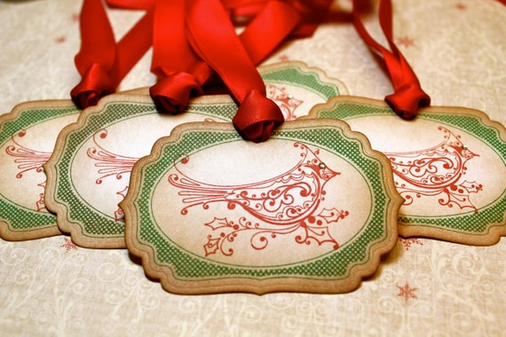 Vintage Inspired Holiday Gift Tags - Cardinal - Set of 5
