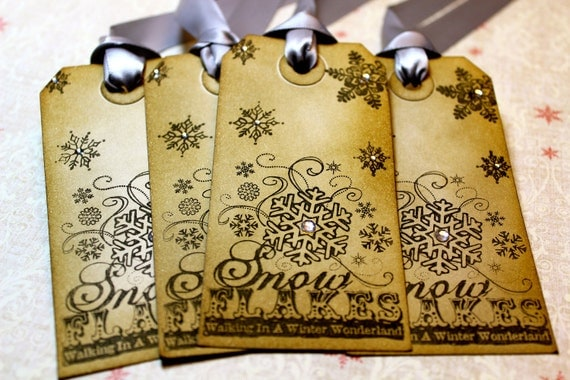Vintage Inspired Holiday Gift Tags - Snowflakes - Set of 5