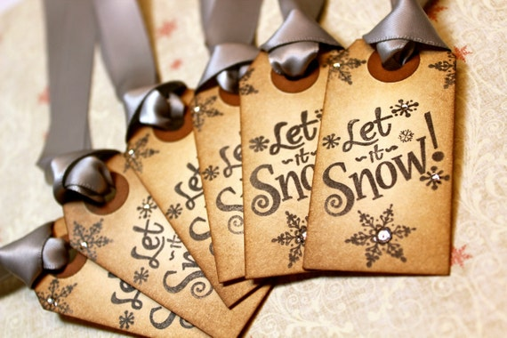 Vintage Inspired Holiday Gift Tags - Let it Snow - Set of 6