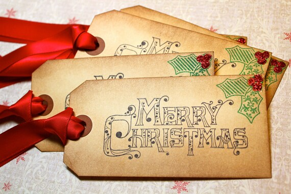 Vintage Inspired Holiday Tags - Merry Christmas - Set of 5