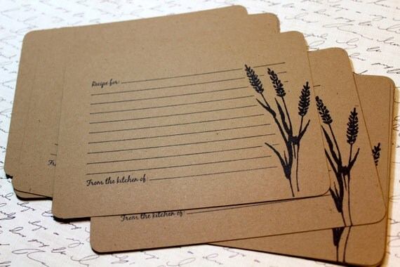 Set of 10 Vintage Inspired Kraft Recipe Cards - Wheat