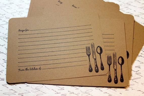 items similar to set of 10 vintage inspired kraft recipe
