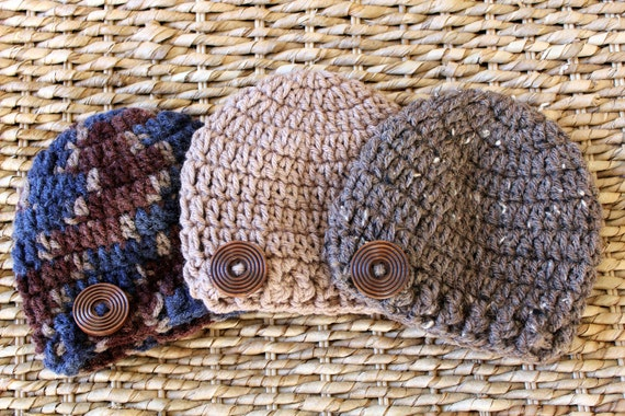Crocheted Baby Button Hats - Newborn - Set of 3 - Browns - Also Sold Separately