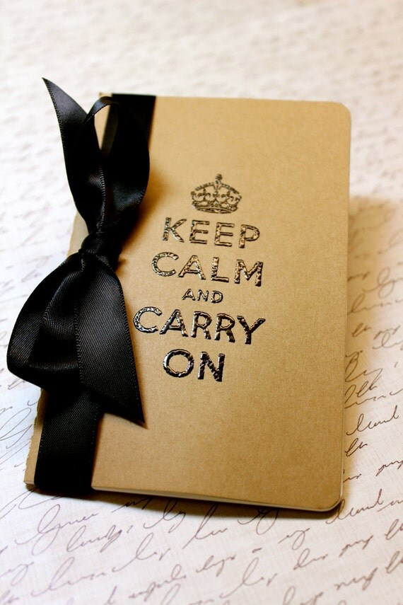 Embossed Moleskine Journal / Notebook / Cashier - Keep Calm and Carry On