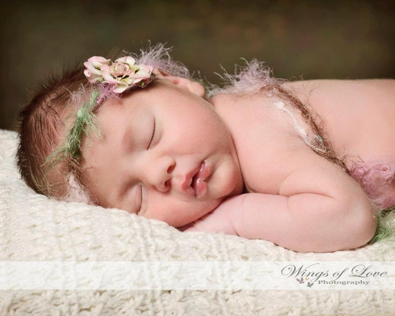 Crocheted Baby Halo Headband - 0-3 Months - PHOTO PROP