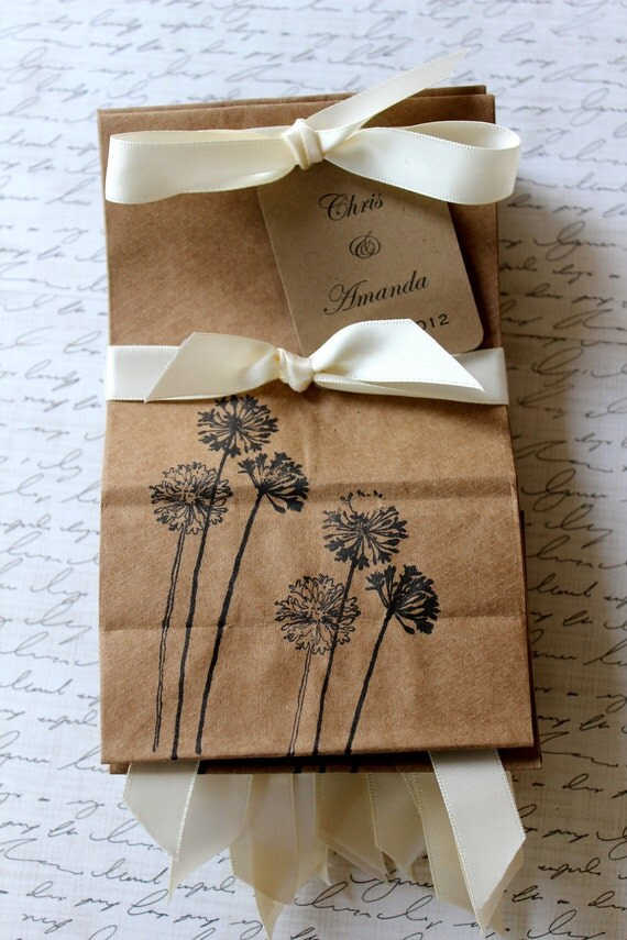 Personalized Kraft Favor Bags  -  Set of 10  - Dandelion - Two Bag Sizes Available - You Choose Ribbon Color