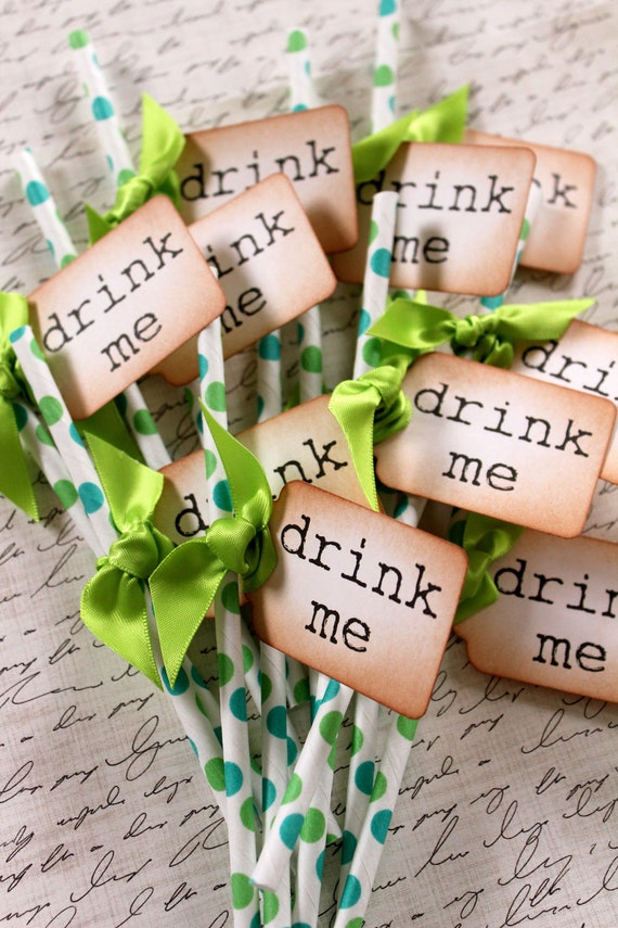 DRINK ME - Green Polka Dot  Swizzle Straws and Tags - Set of 12 - You Choose Ribbon Color