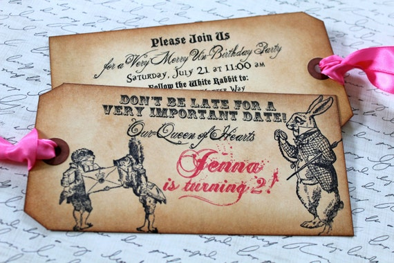 RESERVED for FELICIA - Vintage Inspired Alice in Wonderland Party Invitations - RUSH