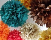 Paper pom poms party decor - 12 Poms ... Pick Your Colors // fall autumn wedding // rustic shabby chic // outdoor barn decor
