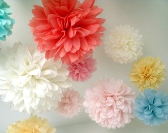 Nursery decor . Baby shower decor . girls room decor . Birthday party decorations . 12 Poms ... Pick Your Colors