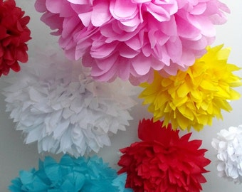 Paper pom poms ... 40 Poms ... Pick Your Colors