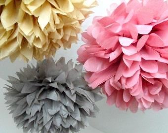 Tissue poms - 3 pompoms - choose your color