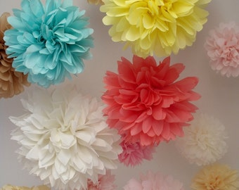 Party decorations ...  20 Poms ... Pick Your Colors
