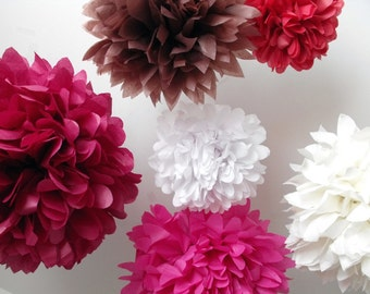 Tissue paper pompom kit ... Flushed ... 6 Tissue Paper Pompom Flowers - DIY Kit