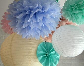 Paper pompoms ...  12 Poms - DIY Kit