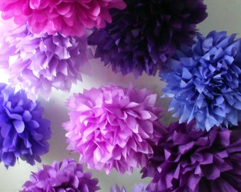 Girls birthday decorations ... Tissue poms ... purple ... 10 poms