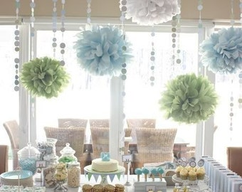 Bridal Shower Decorations ...  tissue paper poms and garland // bridal shower decor // buffet table decor // wedding decor