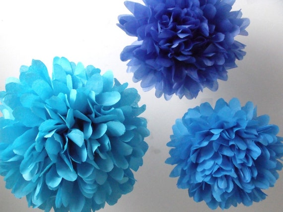 Birthday party decorations 3 SMALL Poms Pick Your