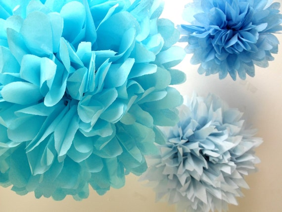 Princess party decorations ... DIY Paper pompoms  ... 9 Poms // Easter // Spring // Wedding // Party //