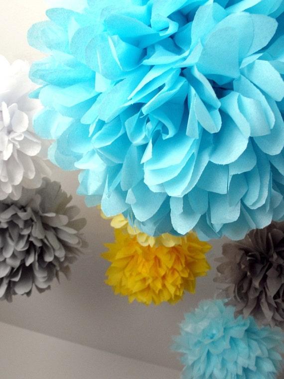 Paper pompoms ... Sunny skies ...  12 Poms - DIY Kit